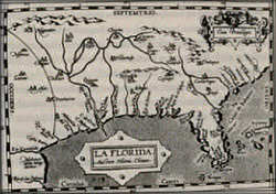 Map of Southeastern North America, approx. middle 16th Century - map making at Links999.