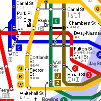 Detail of New York City subway system map - Cartography and map making at Links999.